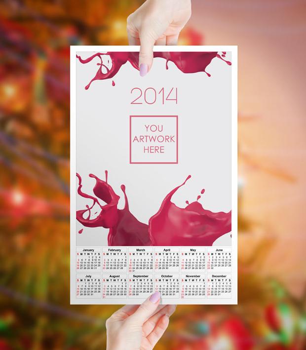 print calendar mockup design