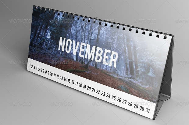 realistic desk calendar mockup