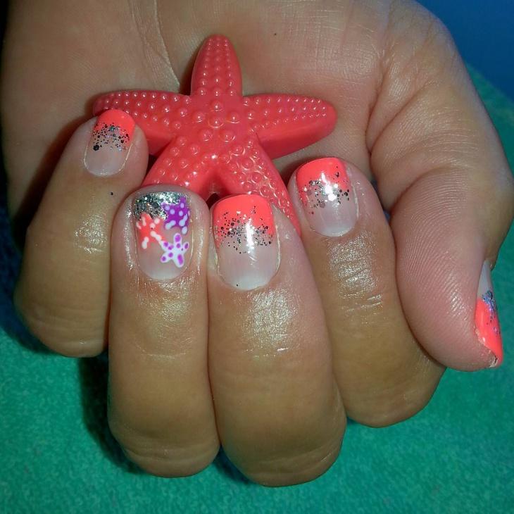 Glitter Starfish Nail Design