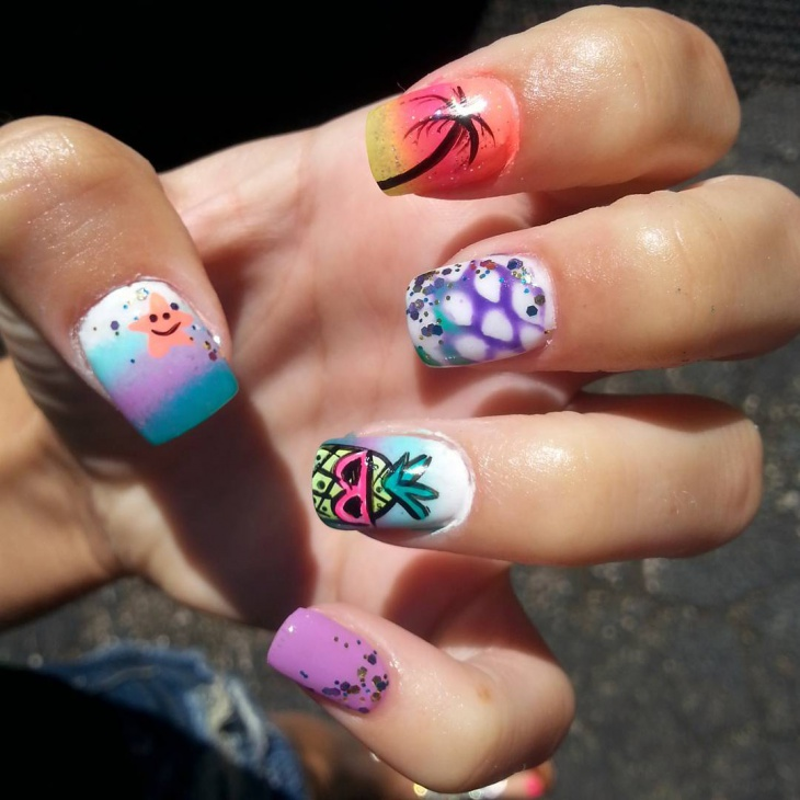sponge starfish nail art