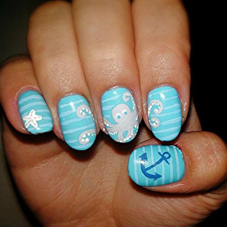octopus and starfish nail design