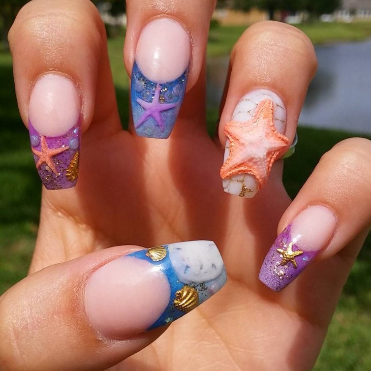3d starfish nail design