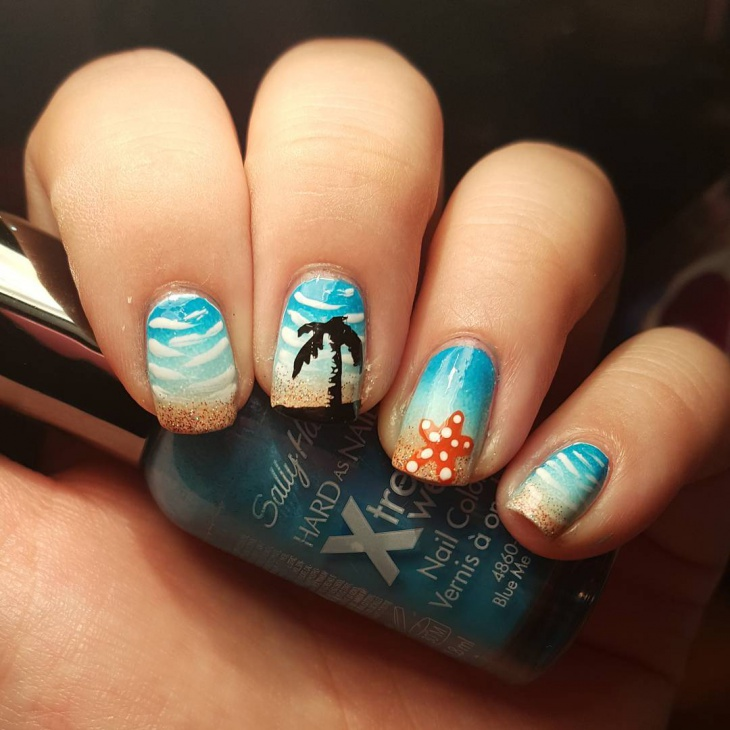 beautiful starfish nail art