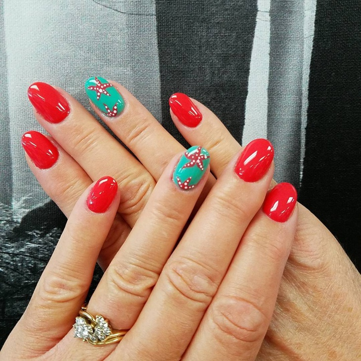 red and green starfish nail design