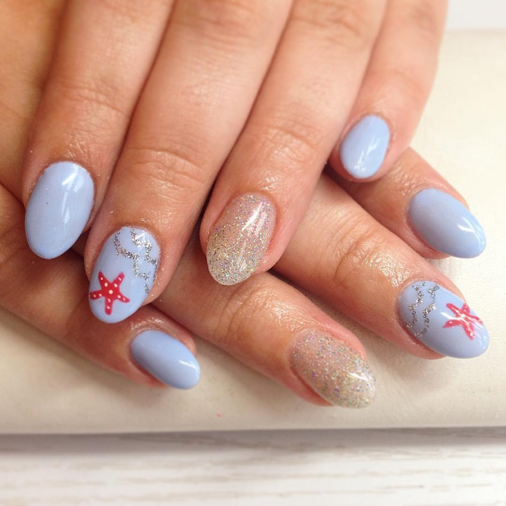 light blue glitter nail art