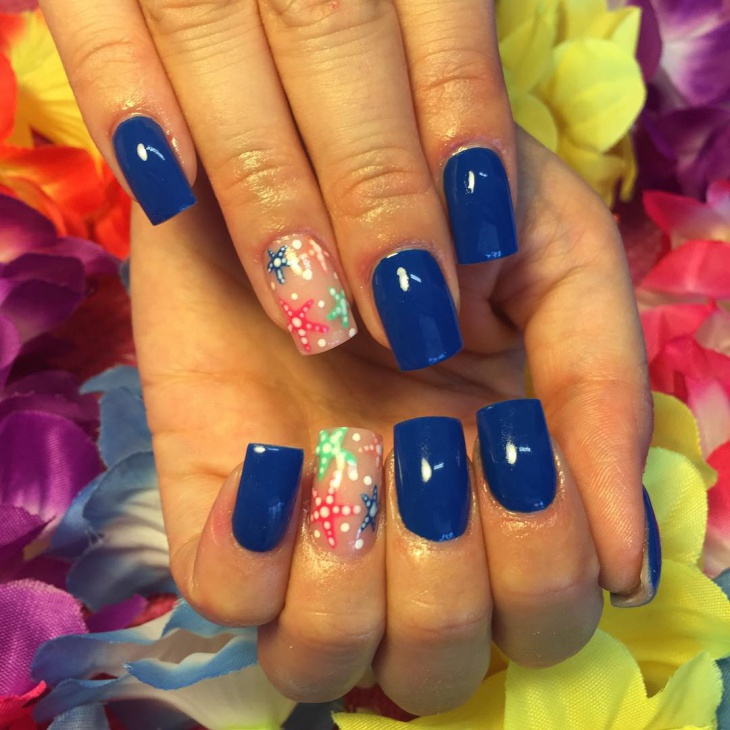 beautiful starfish acrylic nails