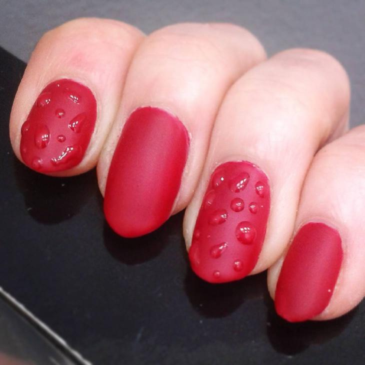 water drop red nail art