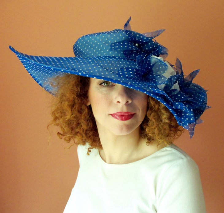 Blue Polka Dot Hat