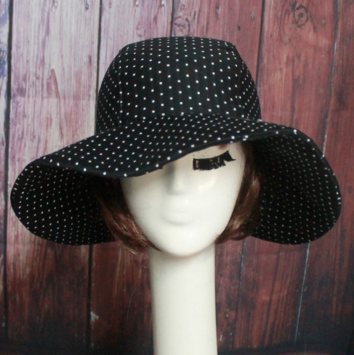 black and white polka dot hat