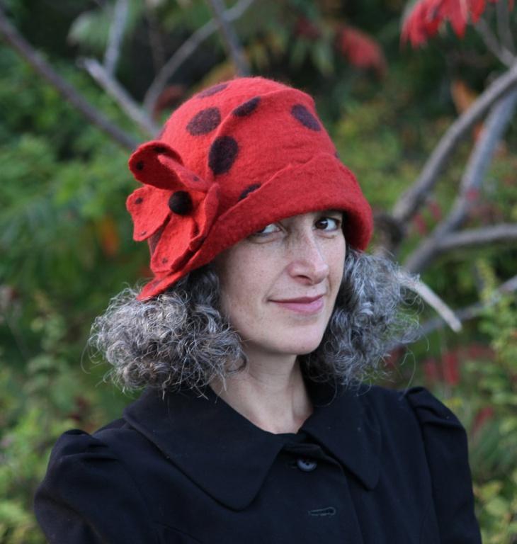 flapper style polka dot hat