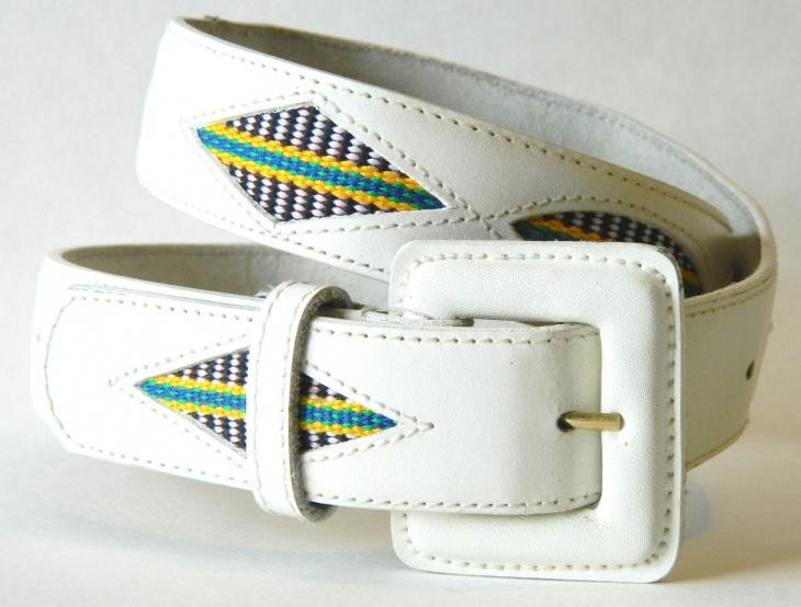 white aztec belt design