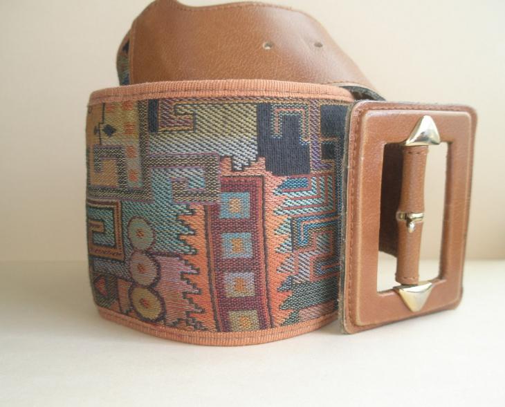 brown leather aztec belt