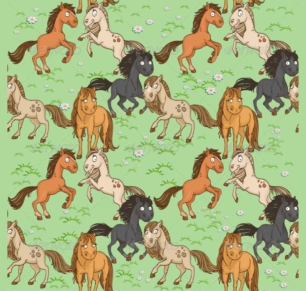 Seamless Horse Pattern Design