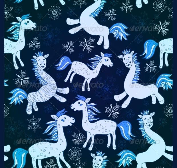 blue horses psd pattern