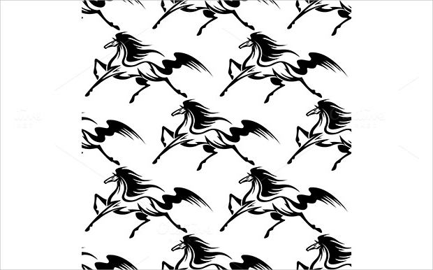 black and white horses pattern