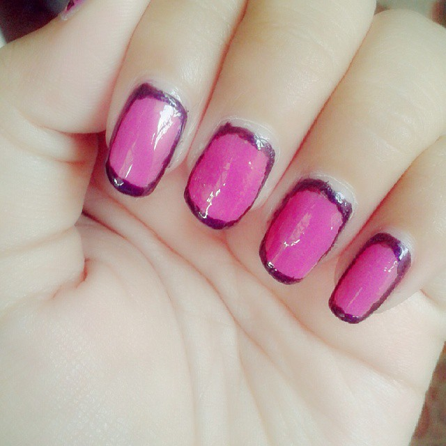 pink circle nail art