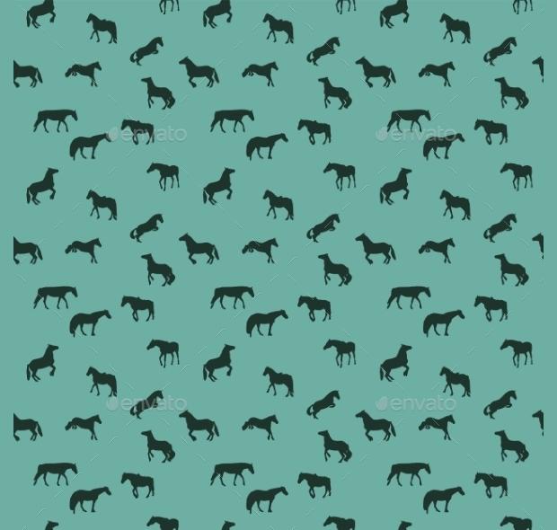 wild horses seamless pattern