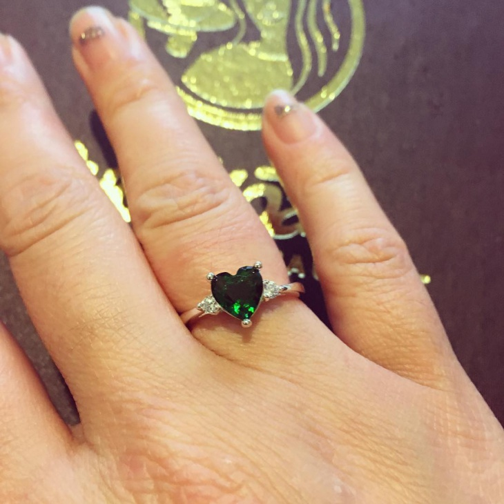 green stone heart shaped ring