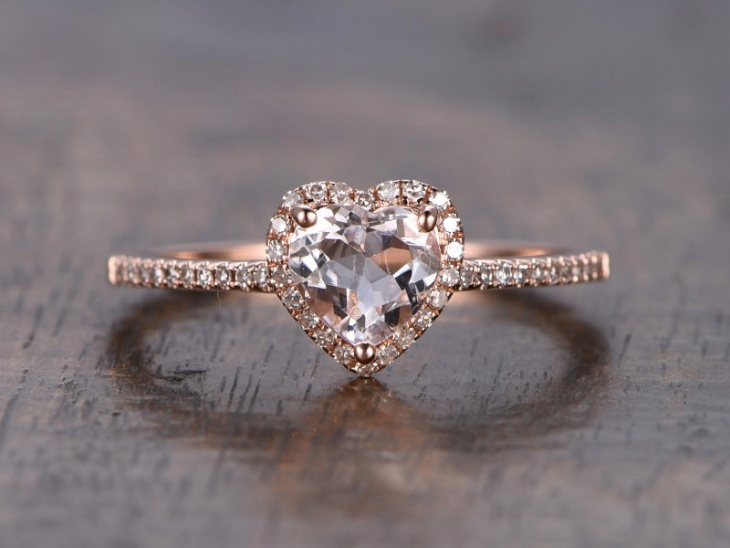 heart shaped halo ring