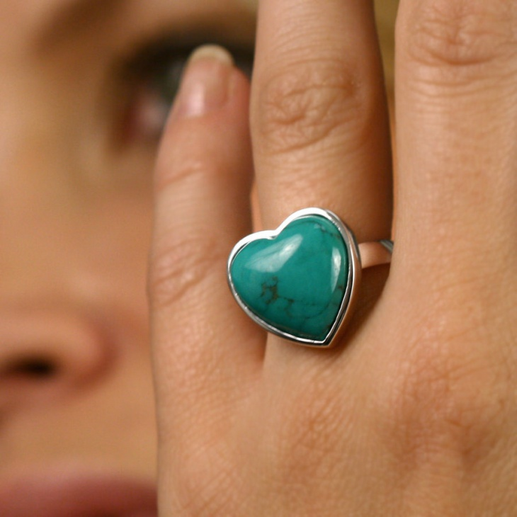turquoise heart shaped ring
