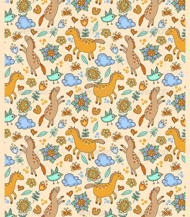 doodle horse pattern