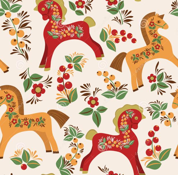 Folk Horses Seamless Pattern Design