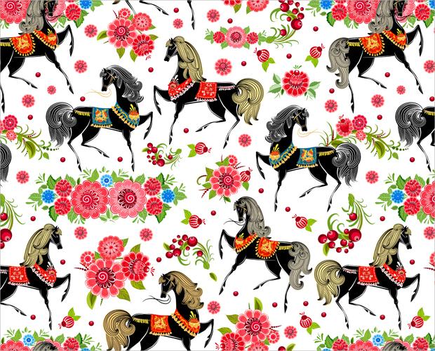 Decorative Horse Seamless Pattern