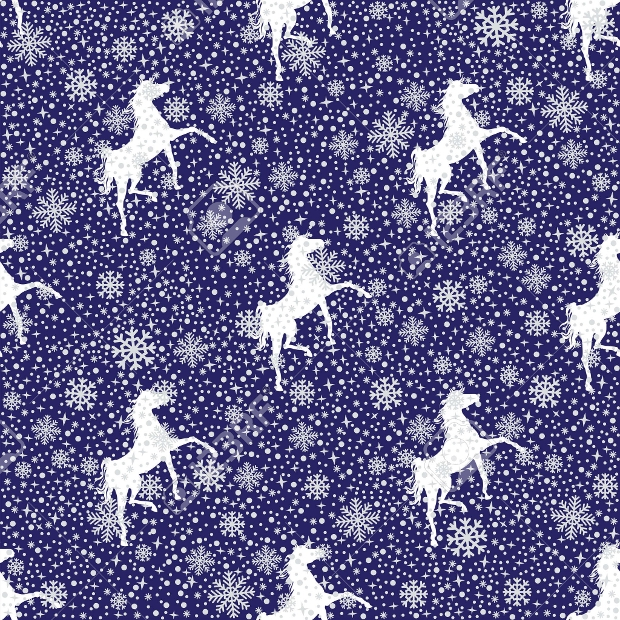 white snowy horse silhouette pattern