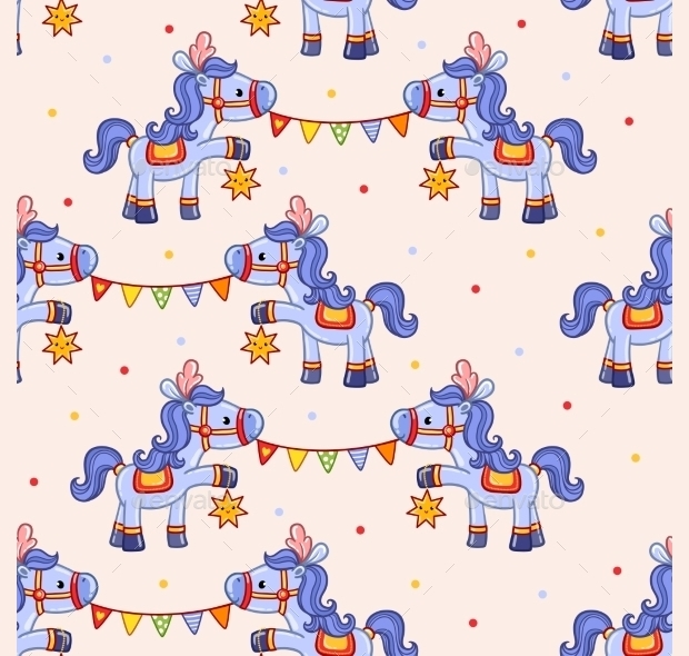 funny circus horse pattern