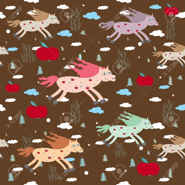 cartoon horse seamless pattern