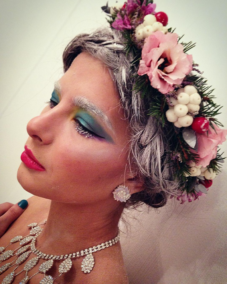 Floral Snow Makeup Idea