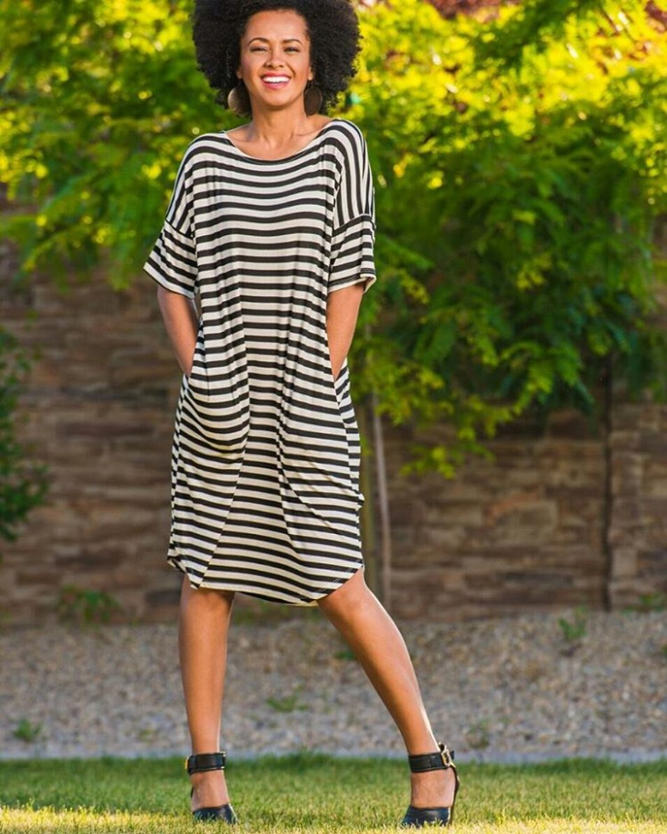 modern striped outfit for women