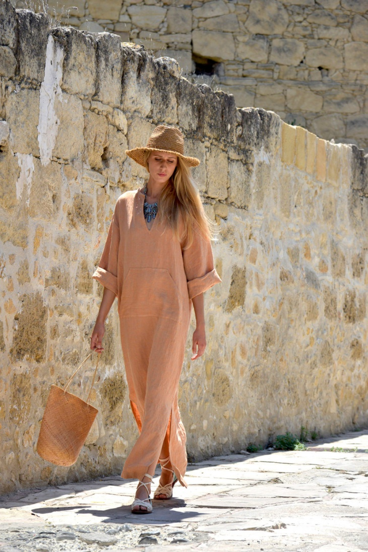 line kaftan loose fit dress
