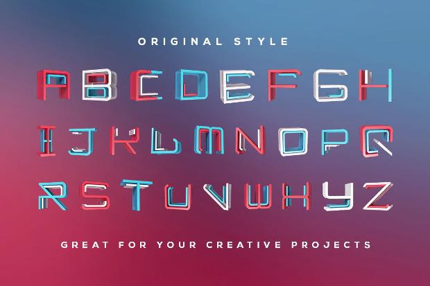 Neon 3D Lettering Font