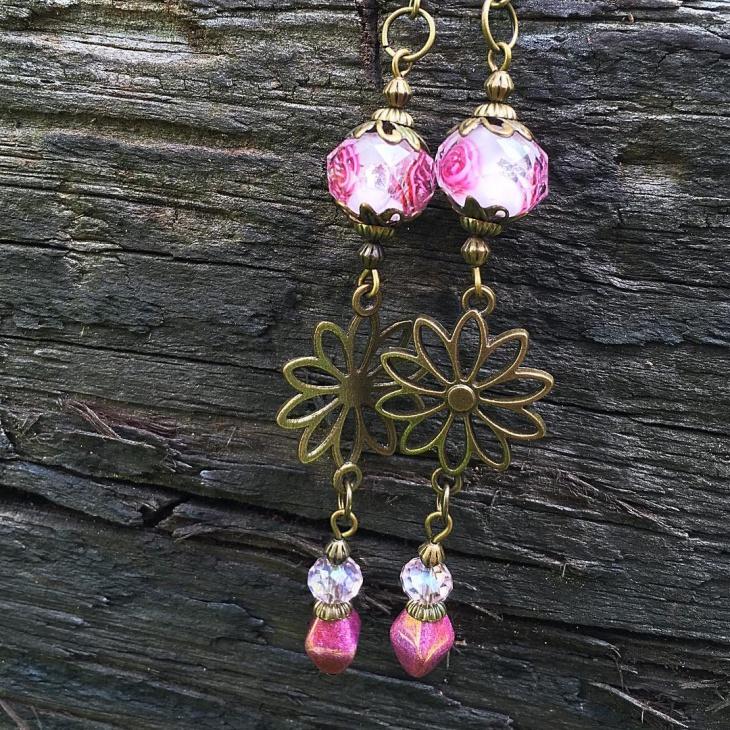 Pink Celtic Earrings