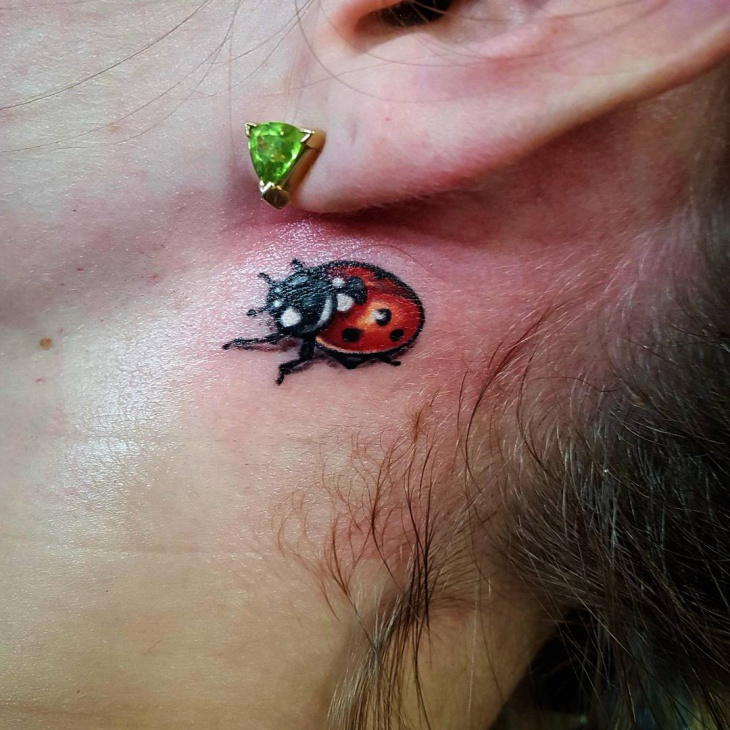 lovely ladybug tattoo for women