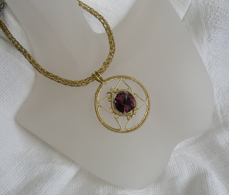 Brass Celtic Necklace with Swarovski
