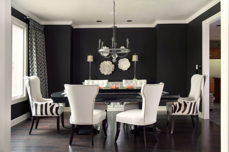 Black White and Turquoise Dining Room