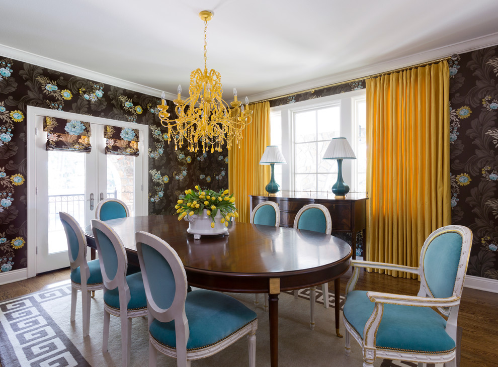 Brown and Turquoise Dining Room