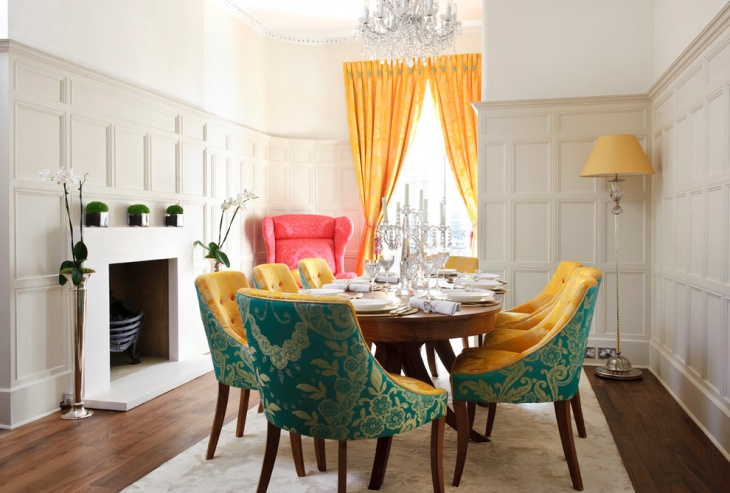 Turquoise Dining Room with Yellow Lamp