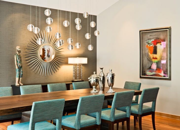 Wall Design Turquoise Dining Room