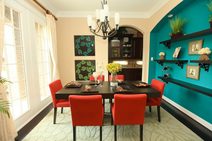 Turquoise Dining Room with blue wall shelves