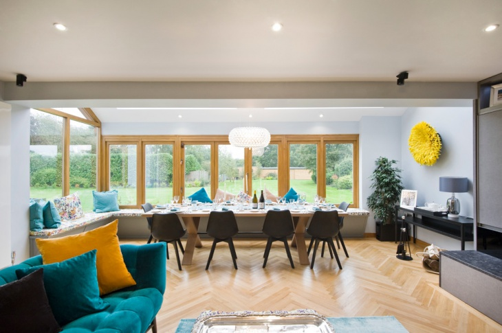Wood Flooring Turquoise Dining Room