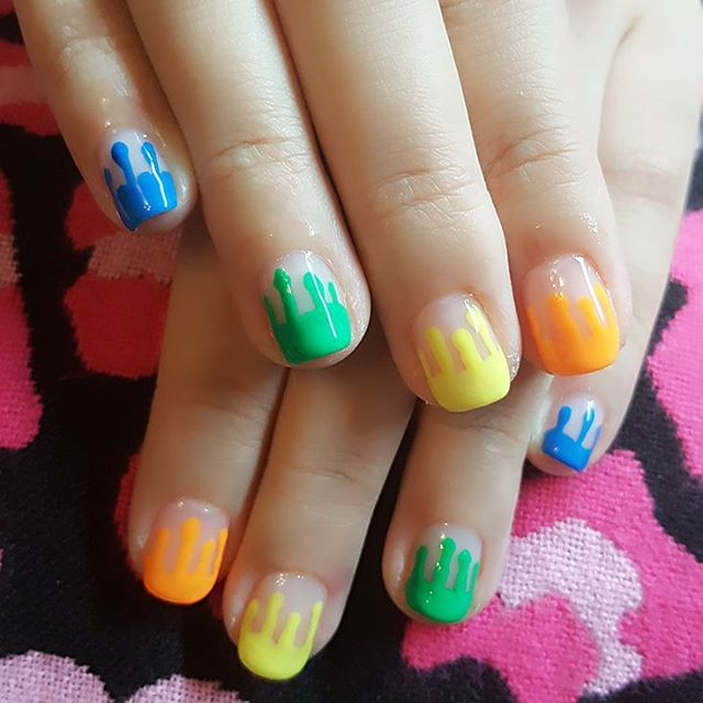 Dripping Neon Paint Nail Art