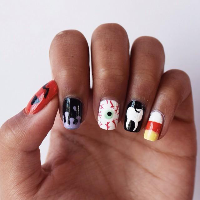 abstract drip nail design