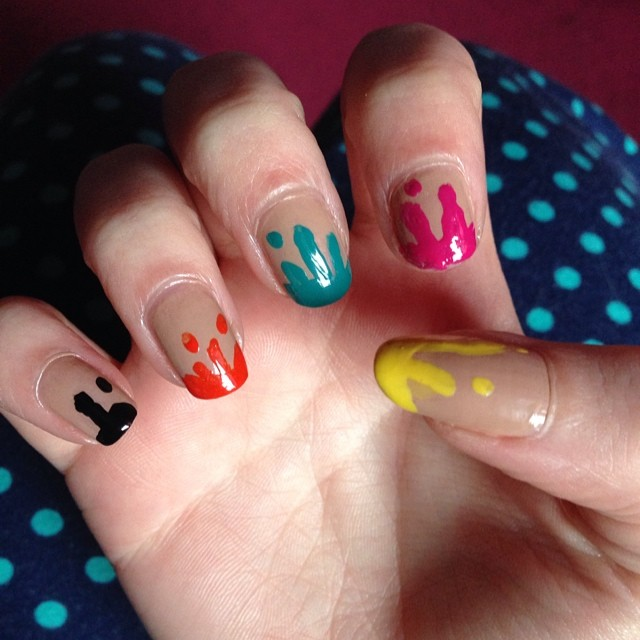 rainbow drip nail art