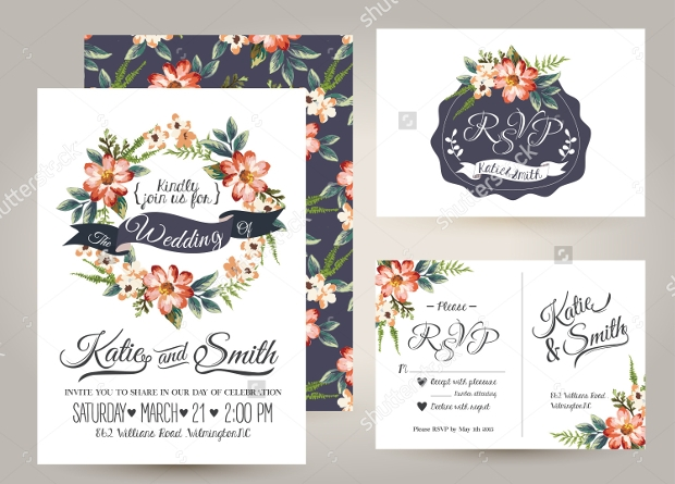 daisy flowers wedding invitation