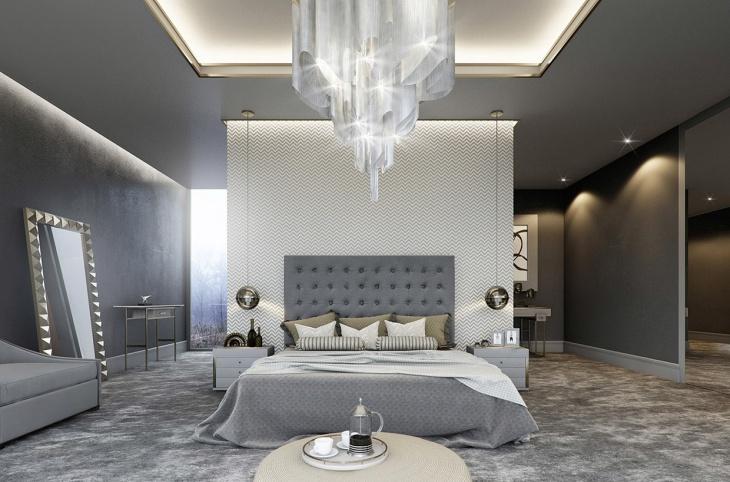 gray apartment bedroom interiors
