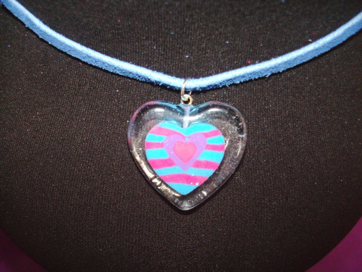 Blue Glass Heart Pendant Idea
