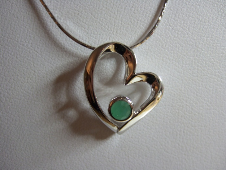 Sterling Silver Heart Emerald Pendant
